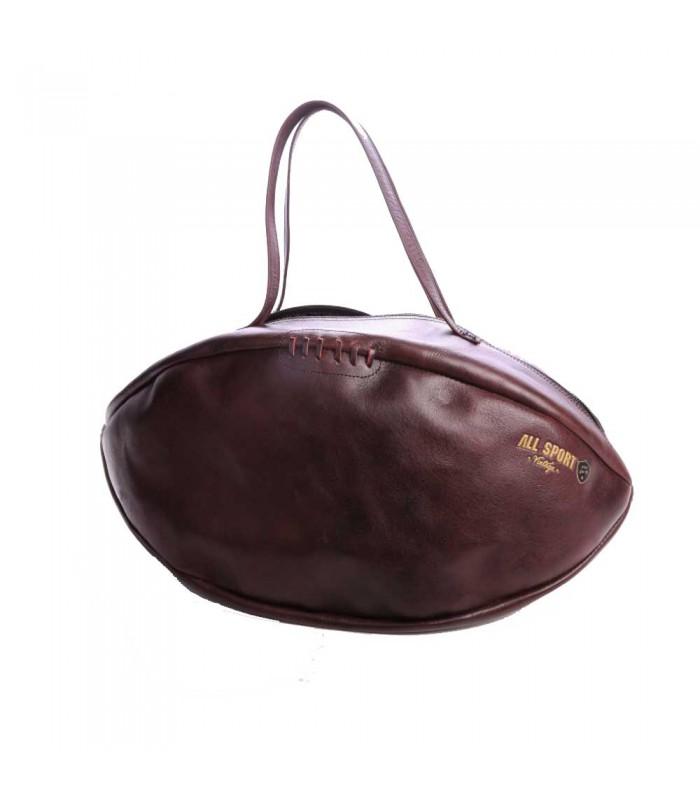 Sac week-end ballon de rugby, brun- All Sport Vintage