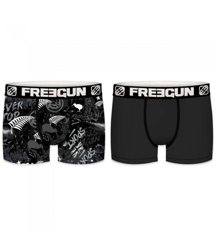 Lot de 2 boxers rugby Nouvelle Zélande / Noir enfant - Freegun