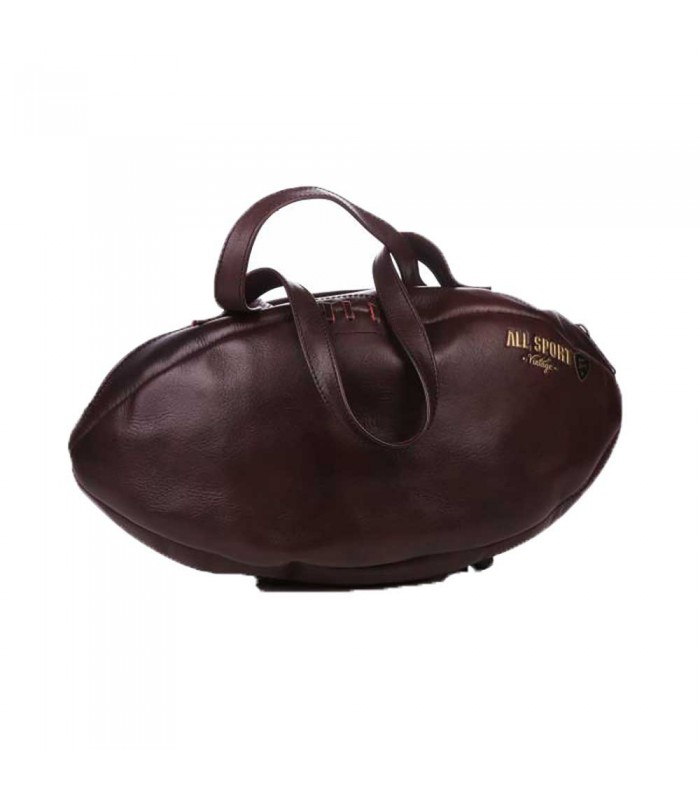Sac à main ballon de rugby, cuir brun- All Sport Vintage